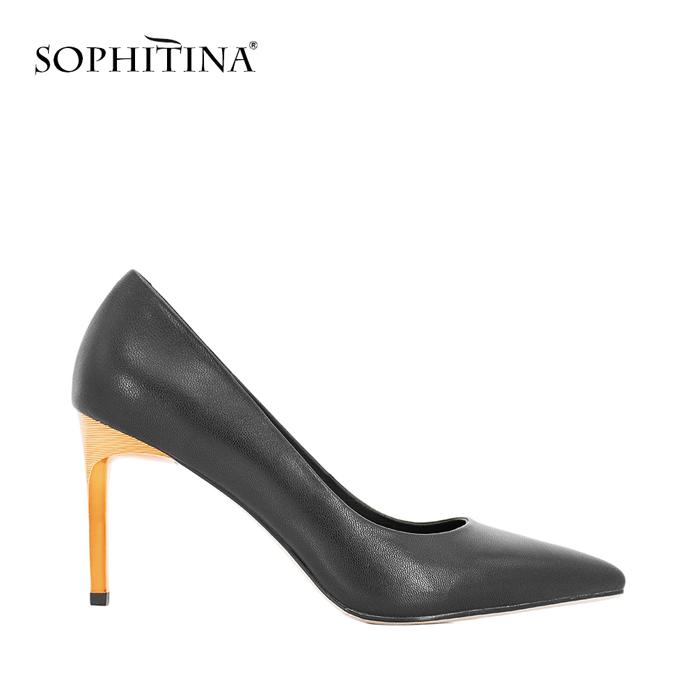 SOPHITINA Luxury Pumps Black Genuine Leather Super Thin Heels Pumps Sexy Pointed Toe Elegant Party Shoes Women Office Lady W25 sophitina women autumn pumps high quality patent leather sexy pointed toe thick heel pumps handmade party office lady shoes w13
