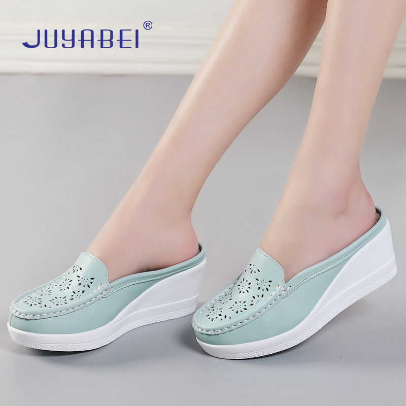 Printing Wedges Nurse Shoes Women Thick Bottom Slippers Hospital Laboratory Beauty Salon Dental Clinic Pharmacy Medical Shoes image