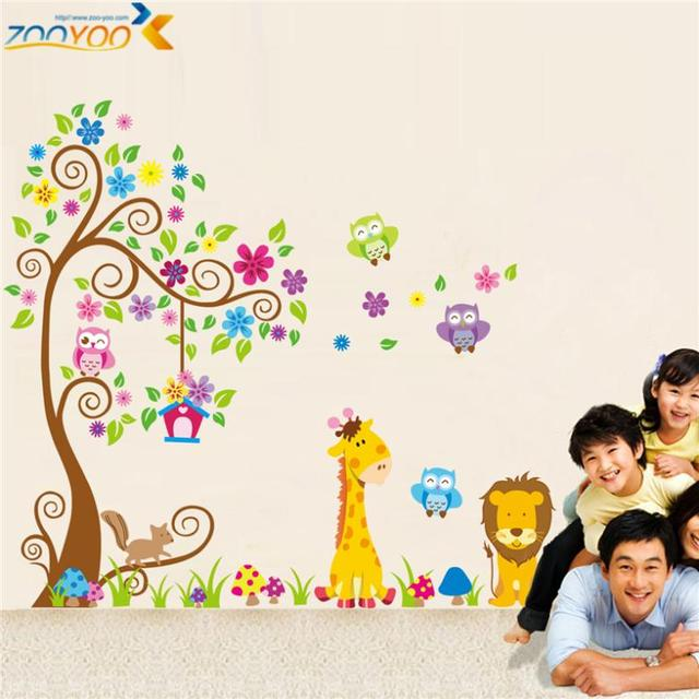 Giraffe lion owl colorful tree wall stickers for kids room zooyoo1218 animal wall decal cartoon wall
