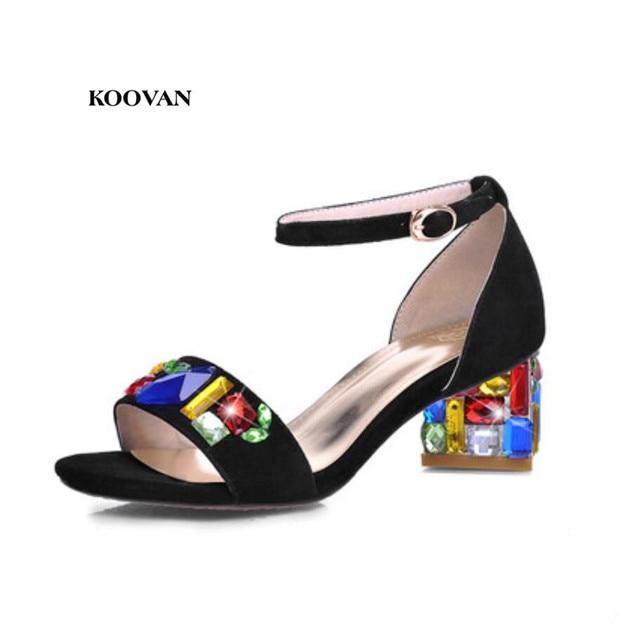 Koovan Women Sandals 2017 Shoes Woman Sandalia Summer Bohemian Crystal  Diamond Rhinestone Fish Head Mesh Fancy Colors b96ba62b4ae7