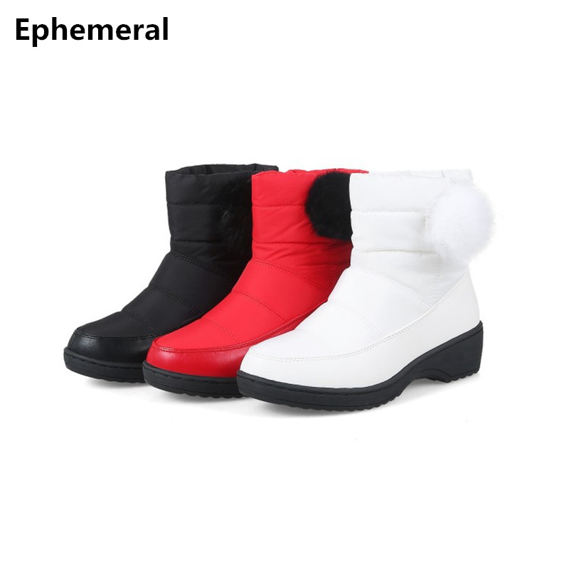 Lady Shoes Thick Bottoms Wedges Boots Winter Warm Fur Snow -5401