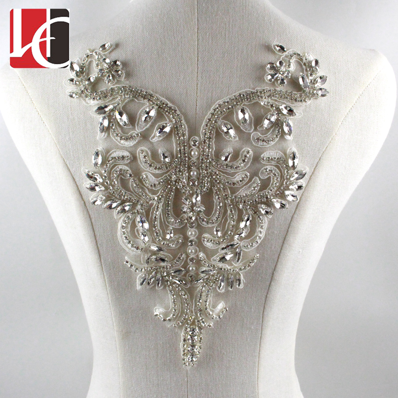 Wholesale Beautiful Design New Style High Quality Rhinestone Applique For Wedding Dress