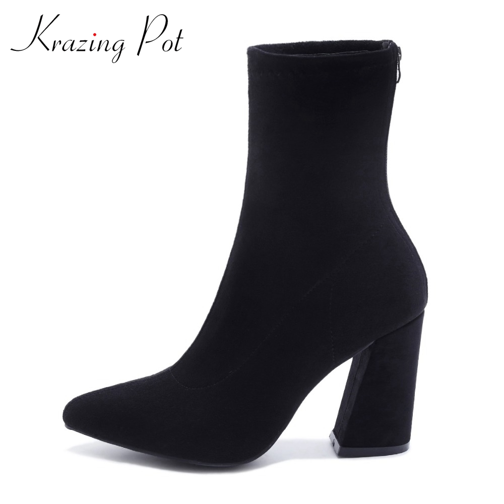 Krazing Pot new velvet boots women pointed toe solid thick high heels women runway model preppy style Chelsea mid-calf boots L56 krazing pot genuine leather sheep skin thick high heels square toe zipper boots women superstar party western mid calf boots l17