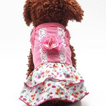 Fashion New Pet Spring Summer Dress Outfit Puppy Dog Bowknot Flower Clothes Apparel