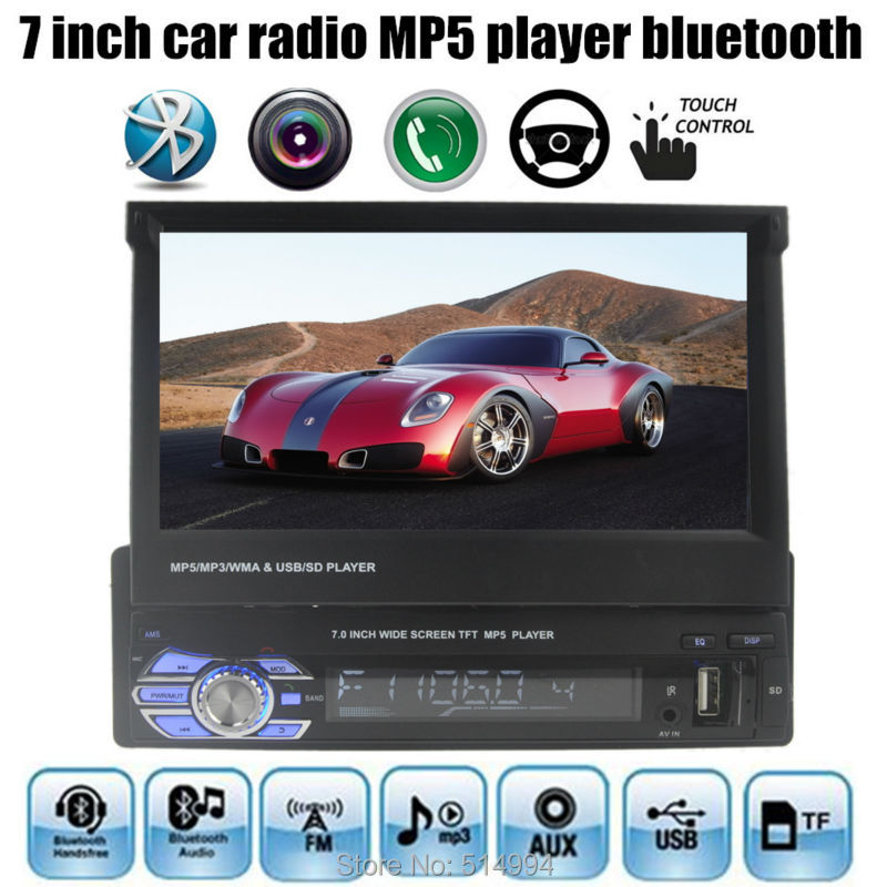 7 inch screen car mp 5 player USB SD rear view aux in radio tuner remote