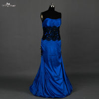 RSE681 Mermaid Black And Royal Blue Mother Of The Bride Dresses