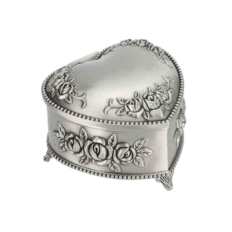 Винтажная шкатулка сердце цветок тиснение серьги футляр для хранения колец Чехол Шкатулка принцессы для часов хранения часов держатель чехол