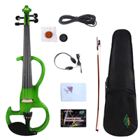 Yinfente Green 4/4 Electric Silent Violin Wooden Sweet Sound Free Case+Bow+Cable#EV2