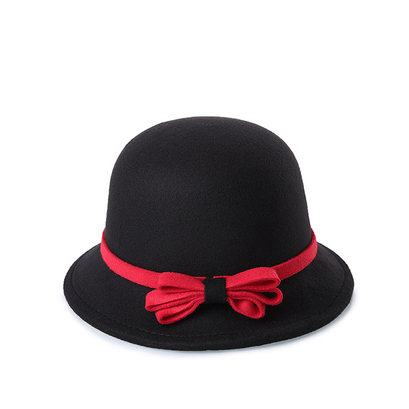 Ladies Red Blue Top Hat Vintage Wide Brim Wool Bowler Fedora Hats For Women  Autumn Winter c503497babb1