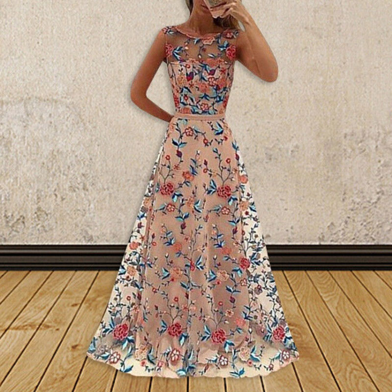 Women Floral Embroidered Chiffon Dress Formal Prom Evening ball Gown Long Maxi Dress See Throught Sleeveless Mesh Dresses lace panel chiffon maxi evening engagement prom dress