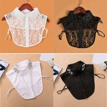 Рубашка с искусственным воротником для женщин, вышитая рубашка со стразами, воротник с кружевным отстегивающимся отворотом, искусственный воротник, аксессуары для одежды