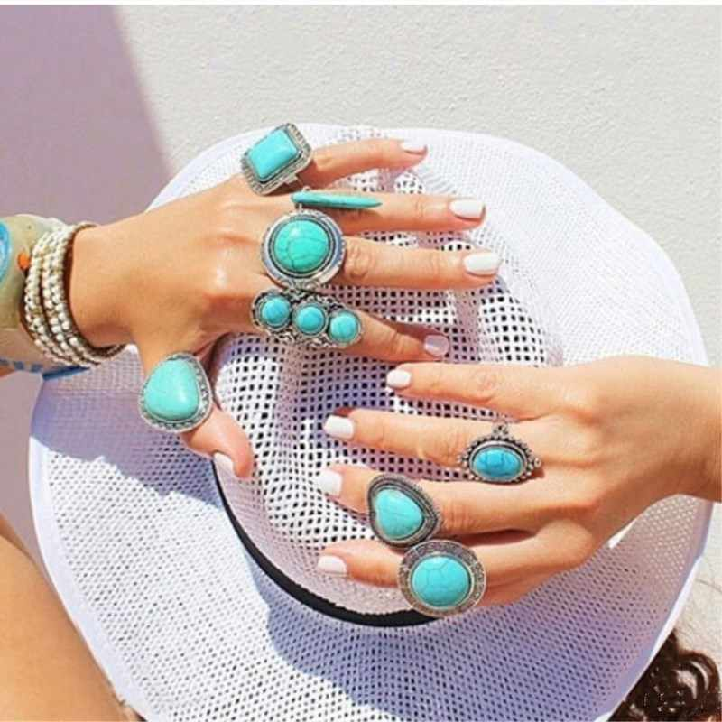 Bohemia Retro exaggerated adjustable geometric irregularly inlaid green stone rings for women 4RD89