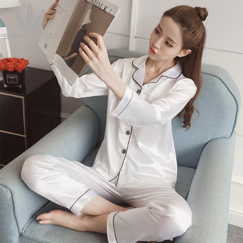 Women   Pajamas     Sets   Silk Satin Pijama Long Sleeves Pyjamas Turn-down Collar Sleepwear Pocket Decor 2 Pieces   Sets   Silk   Pajamas