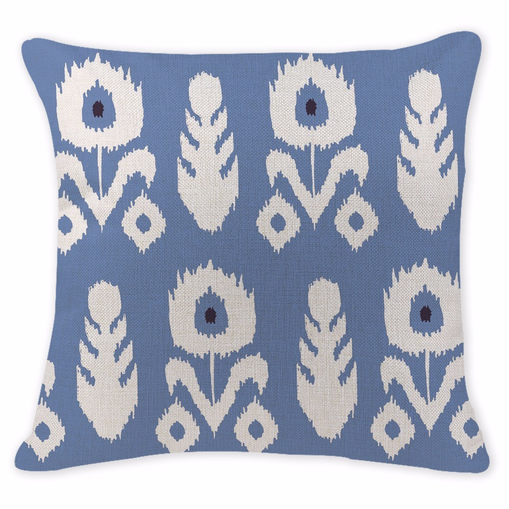 Customized Cushion Covers Bohemian Flowers Blue Pillow Cases Chair Sofa Cotton Linen Lounger For Beach Printing White Almofada
