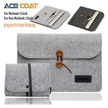 Brand ACECOAT Wool felt Laptop Sleeve For Macbook air 11 Double deck storage bag for new macbook 12inch