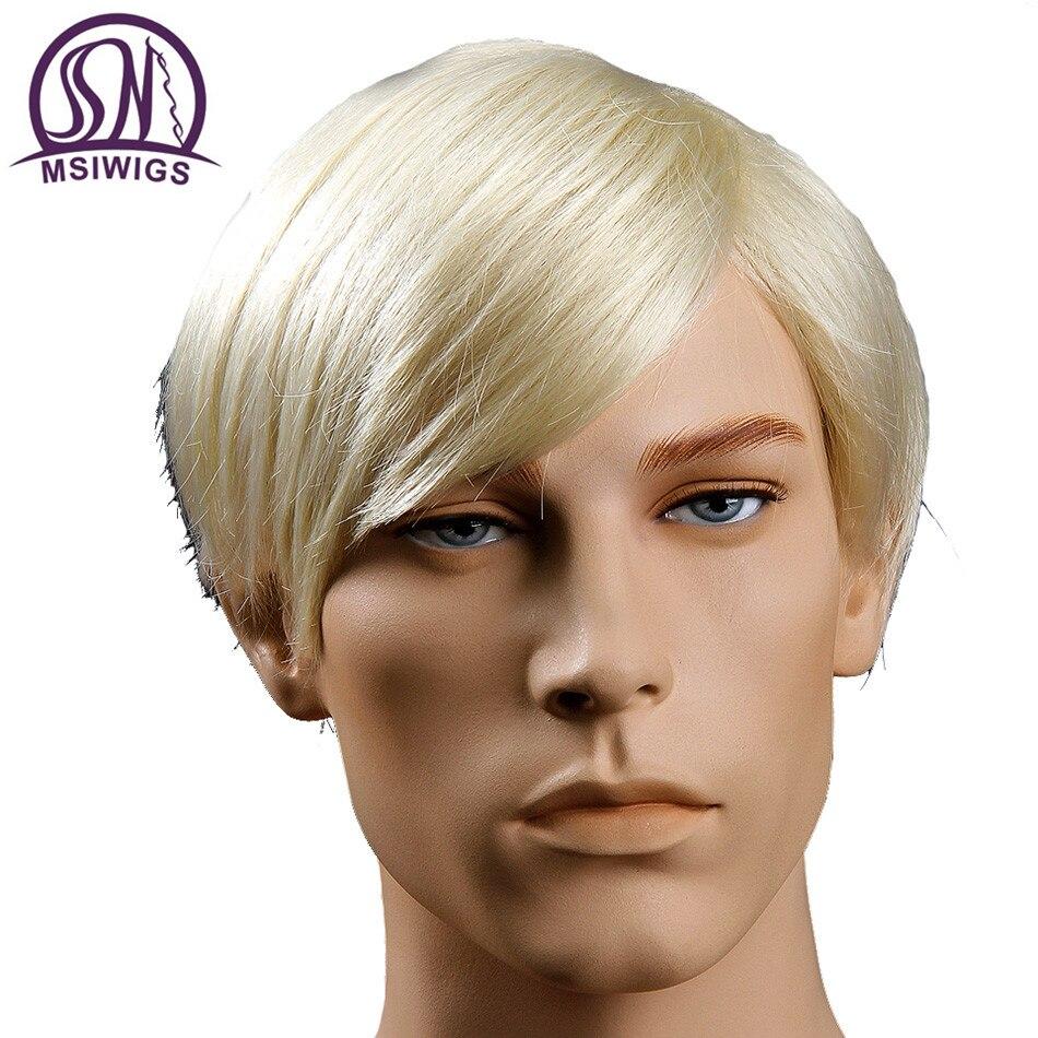 MSIWIGS Blonde Herren Perücken Hitzebeständige Toupet Natürliche Kurze Gerade Perücke für Männer Japanese KA Faser Haar
