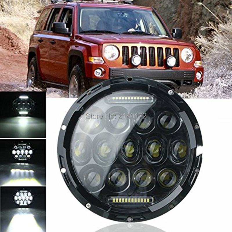 12V 24V LED Lights 7 INCH Round DRL Driving Headlight Hi/Lo Beam 75W led headlamp Kit for Jeep Wrangler Offroad 4x4 SUV Hummer 2pcs new design 7inch 78w hi lo beam headlamp 7 led headlight for wrangler round 78w led headlights with drl