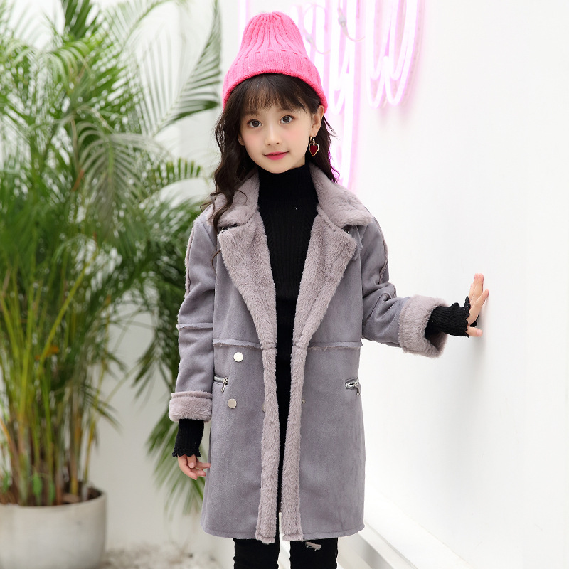 Girls wool coat winter new children's casual thickening plus velvet faux fur coat 2017 winter new clothes to overcome the coat of women in the long reed rabbit hair fur fur coat fox raccoon fur collar