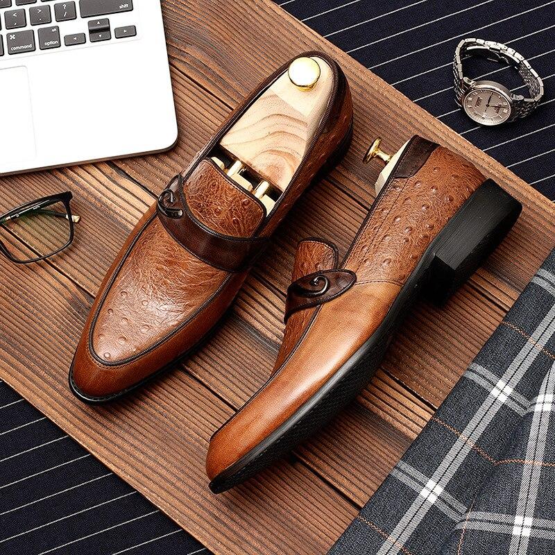 Phenkang mężczyzna formalne buty prawdziwej skóry oxford buty dla mężczyzn czarny 2019 suknia ślubna poślizgu na skórzane brogues buty w Buty wizytowe od Buty na  Grupa 1