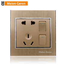 цена на Home Wall Socket Panel 5-Pins 2 Push Button Electric Power Outlet 10A AC 220V Electrical Plugs Sockets Embeded Mounted 86 Type