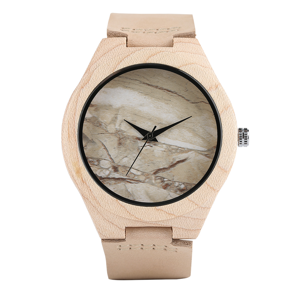 Wood Watch Marble Pattern Simple Bamboo Wooden Quartz Watches Famous Brand Genuine Leather Men's Watch Relogio Masculino 2017 classic style natural bamboo wood watches analog ladies womens quartz watch simple genuine leather relojes mujer marca de lujo