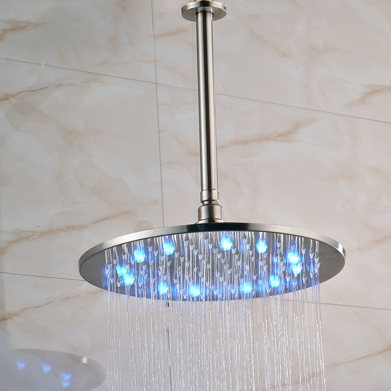 Brushed Nickel 16 Inch LED Light Shower Head Rainfall Round Big Showerhead  With Brass Shower Arm In Shower Heads From Home Improvement On  Aliexpress.com ...