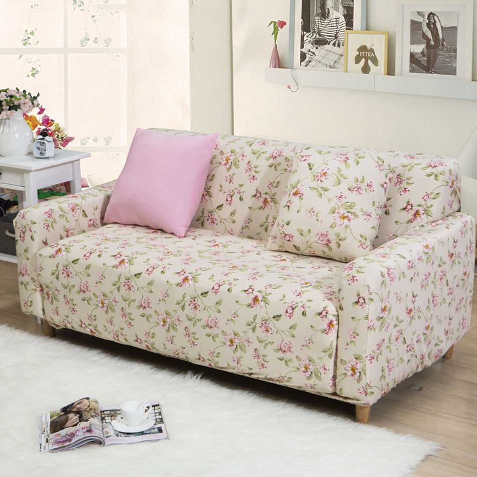 Flowers print universal stretch sofa cover for living room - What size couch for my living room ...