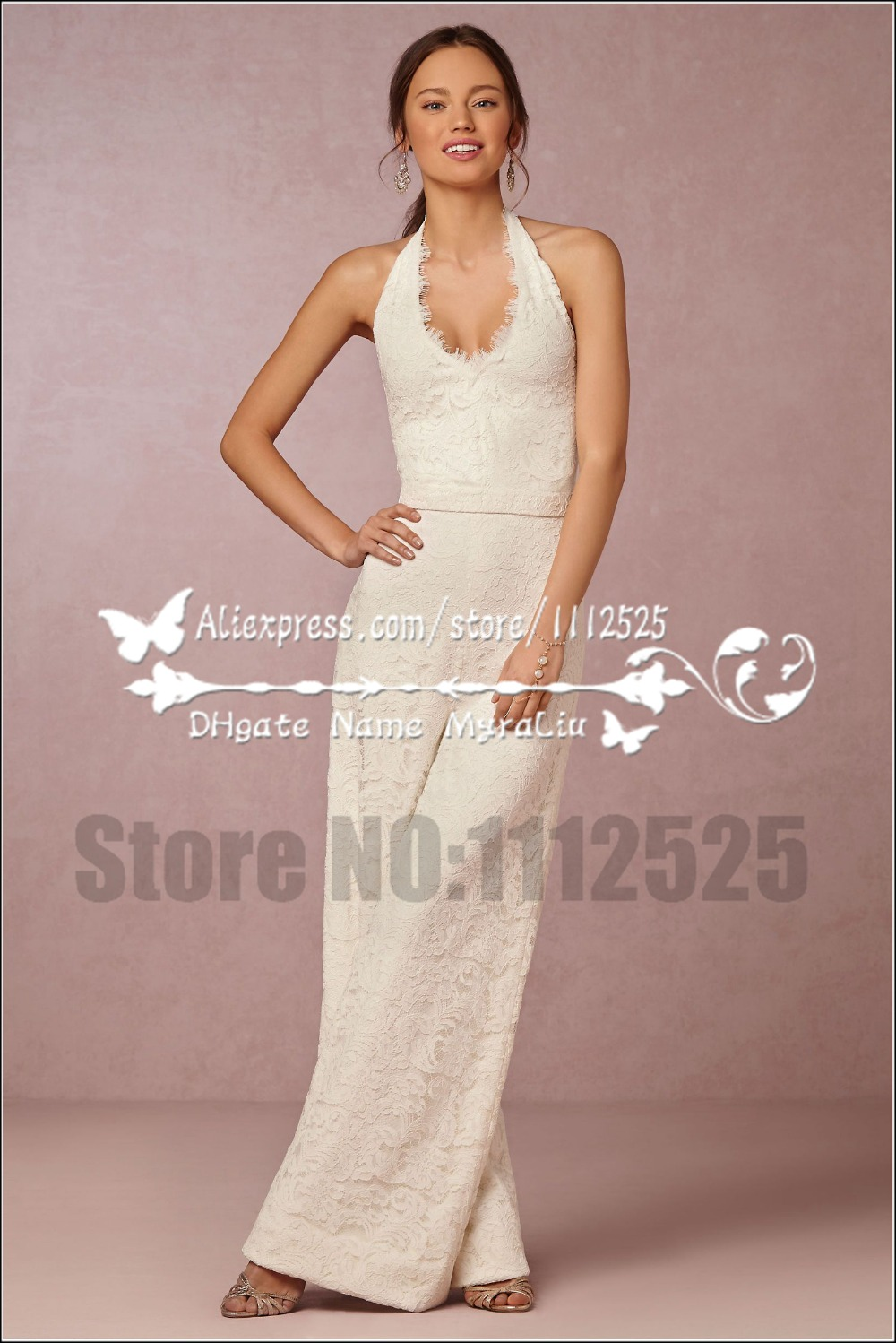 Us 142 0 Awp 1002 New Arrival Wedding Jumpsuit Bridal Dresses Charming Lace Halter Dress For Bride Women S Pant Suits In Wedding Dresses From