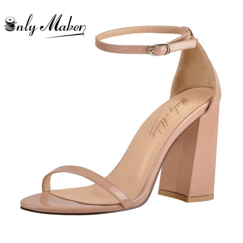 Onlymaker Women's peep Toe สายคล้องข้อเท้าเดียวฤดูร้อนรองเท้าแตะ Chunky Block Heel หัวเข็มขัดอย่างเป็นทางการสำนักงาน Casual Plus siz-ใน รองเท้าส้นสูง จาก รองเท้า บน   1