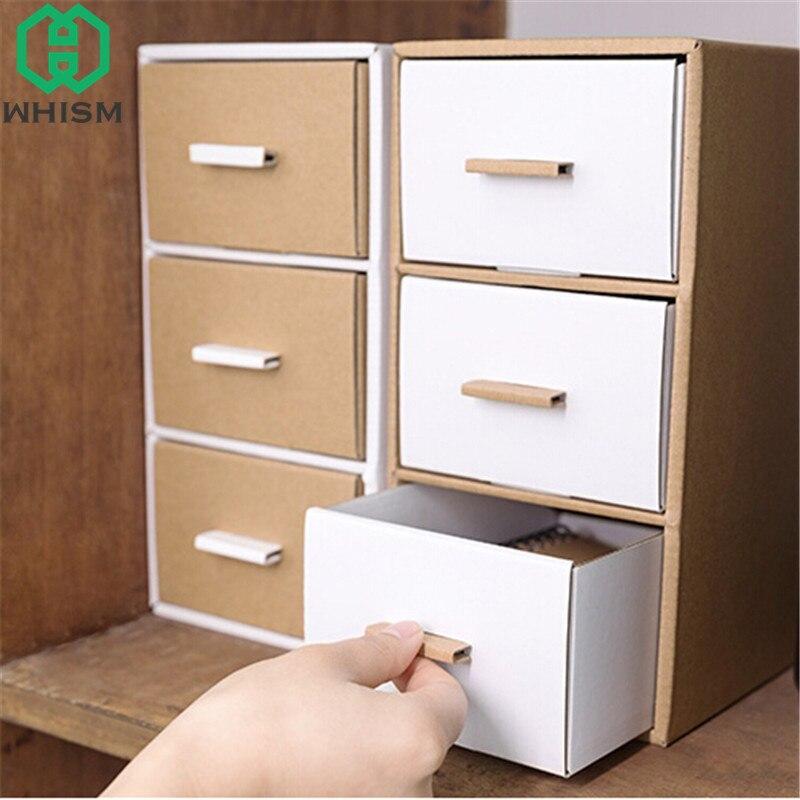 Us 16 44 Whism Diy Storage Box Kraft Paper Stationery Storage Bin Desktop Remote Control Holder Makeup Organizer Drawer Box For Jewelry In Storage