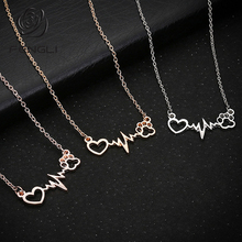 FENGLI Hollow Heart Necklace for Women Minimalist Romantic Dog Claws Accessories Electrocardiogram Elegant Lover Gift bijoux