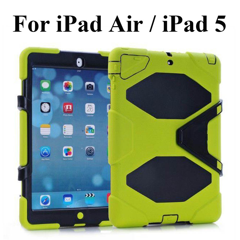 For Apple iPad Air / iPad 5 Shockproof Armor Hybrid Defender Kickstand Case Cover W/ Bulit-in Front Protective Film