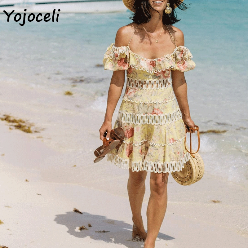 Cuerly 2019 summer jacquard lace dress women hollow out crochet mini dress off shoulder female vestidos party club dress L5 in Dresses from Women 39 s Clothing
