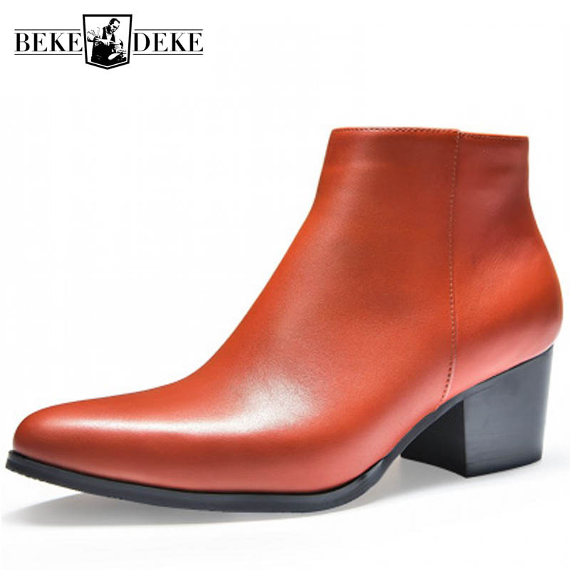 Autumn Winter High Heel Leather Boots Fashion Pointed Toe Zip Warm Ankle Boots Height Increase Office Dress Shoes Boots Men36-44Autumn Winter High Heel Leather Boots Fashion Pointed Toe Zip Warm Ankle Boots Height Increase Office Dress Shoes Boots Men36-44