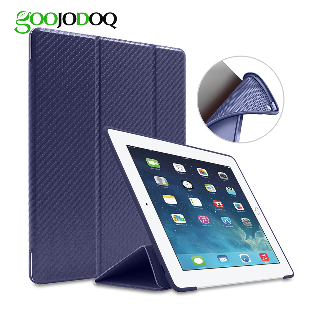 GOOJODOQ For iPad Air 2 Case Silicone Smart Cover Soft TPU PU Leather Flip Stand Auto Sleep/Wake For iPad 6 Case nice soft pu leather case for apple 2017 new ipad air 1 cover slim thin flip tpu silicone protective magnetic smart case shell