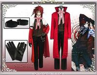 Black Butler Grell Sutchcliff red uniform cosplay costume unisex