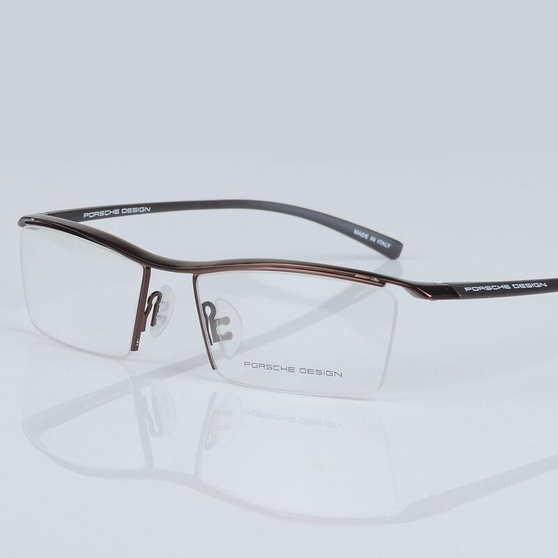 2017 nouveau hommes lunettes cadre titane optique demi-cadre lunettes lunettes carré vintage classique oculos de grau 8189 - 4