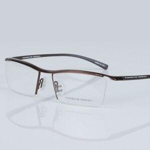 Image 4 - 2017 yeni erkek gözlük çerçevesi Titanyum optik Yarım çerçeve gözlük gözlük Kare vintage klasik oculos de grau 8189