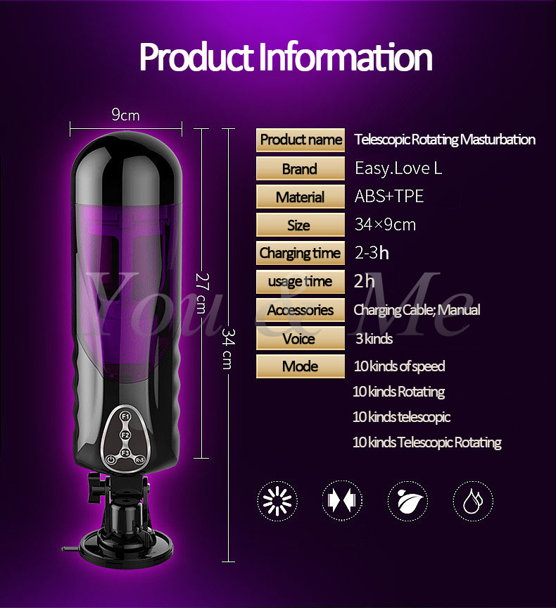Automatic High speed Telescopic Rotating Voice Sex Machine Vagina Pussy Vibrator Sex Toys for Men Electric