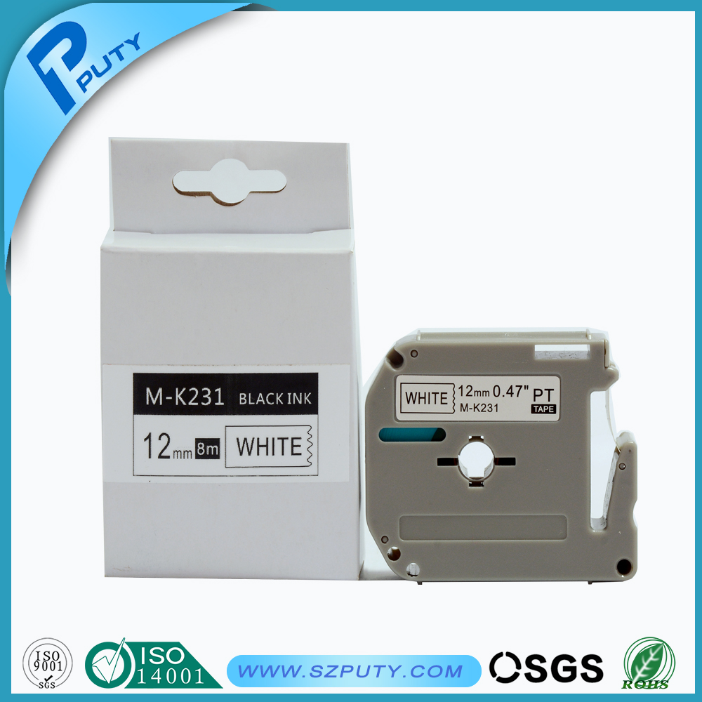 12mm black on white M series M-K231 mk 231 compatible P Touch thermal label printers