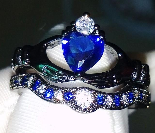 Coração Cut Atacado Impressionante Jóias 925 Sterling Silver Blue Sapphire Simulado de Diamante Anéis de Casamento Para As Mulheres presente Size5-11