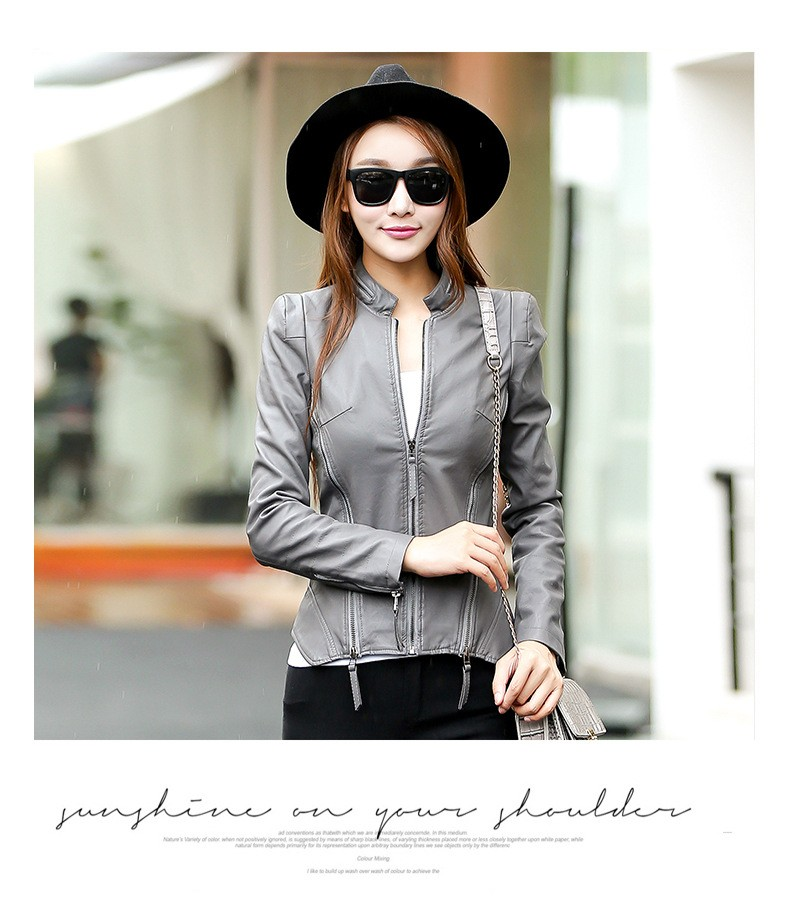 Women's casual short sleeved leather Korean pu leather jacket autumn and winter new commuter long sleeved pood small coat do150 in Leather & Suede