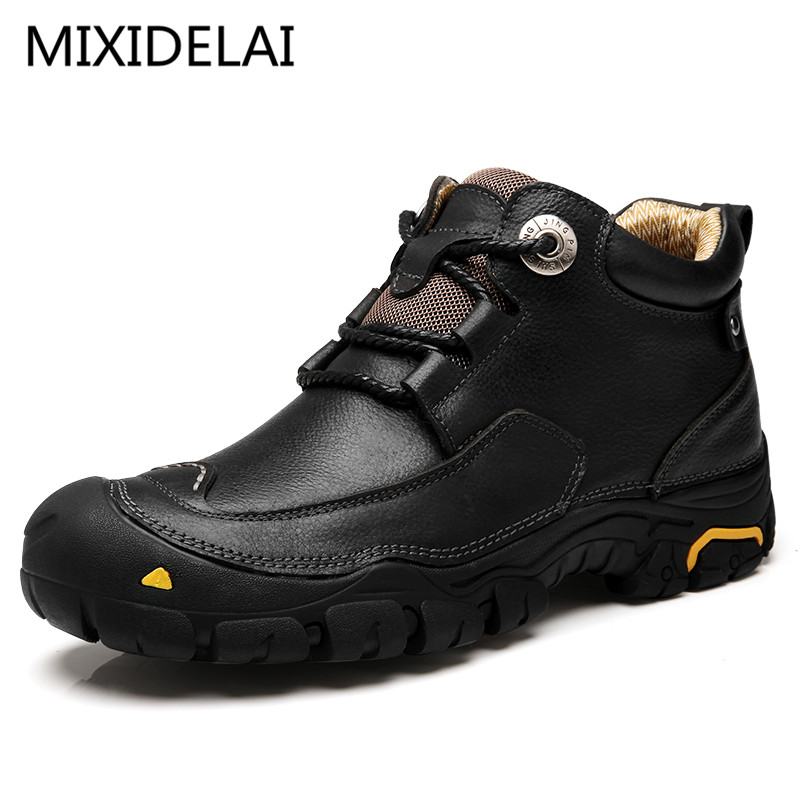 MIXIDELAI 2019 New Men Casual Shoes Mens Working Shoes Fashion Brand Design Outdoor Leisure Shoes Big Size Leather Shoes Men