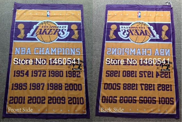 49f7f580fa7 Los Angeles Lakers World Champions Flag 3ft x 5ft Polyester NBA Banner  Flying Size No.4 144  96cm QingQing Flag