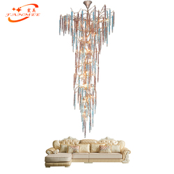 Nowoczesne miedzi oświetlenie żyrandoli z gałęzi drzewa kolorowe szkło Drop żyrandol światła LED wiszące światła luksusowe mosiężny żyrandol światła