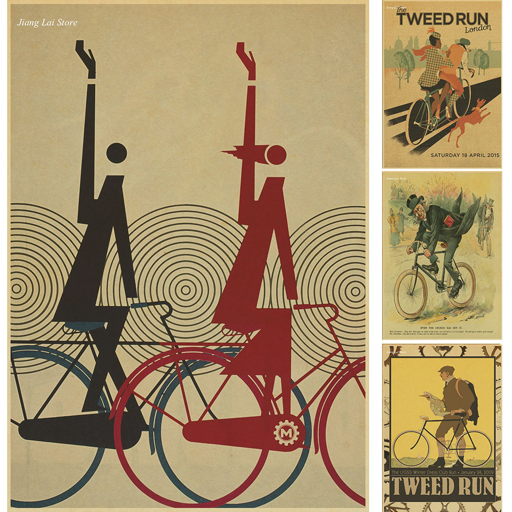 Free ship Vintage Bicycle Poster Retro Wall Sticker Art Prints ...