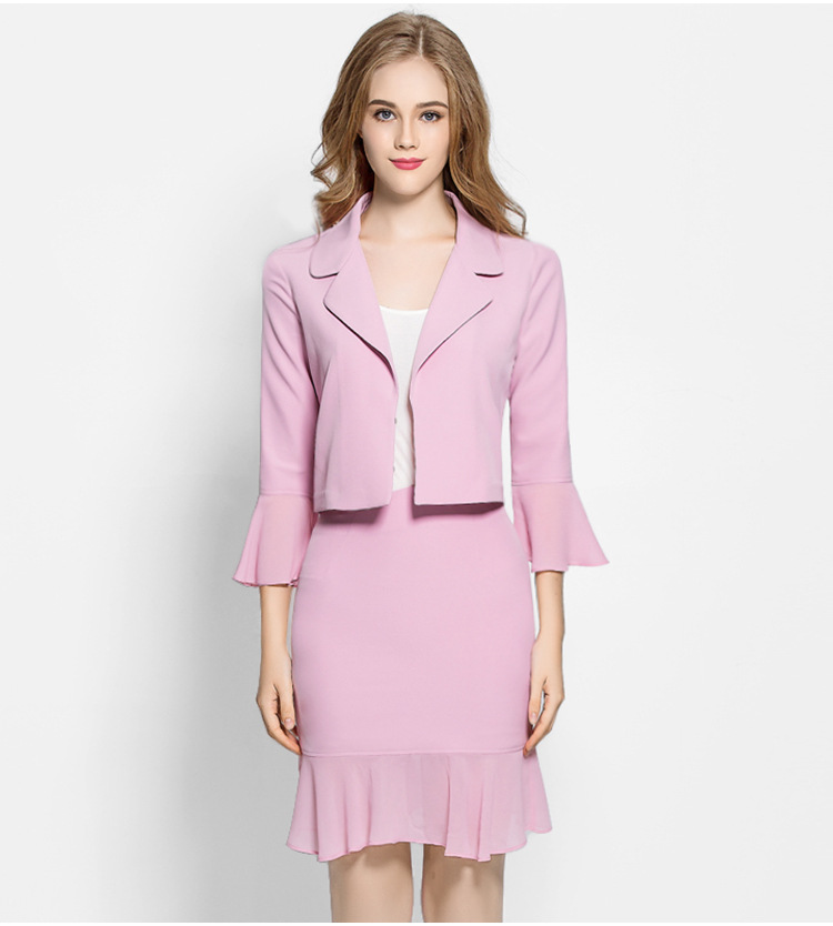 Women Elegant Cute Spring Skirt Suit Wear To Work Office Business career OL Jacket blazer & Skirts Suit 2 Piece Sets 008