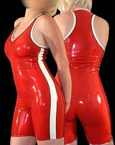 Mode femmes Sexy rouge Latex Catsuit avec garniture blanche 100% en caoutchouc naturel body pour femmes grande taille offre spéciale