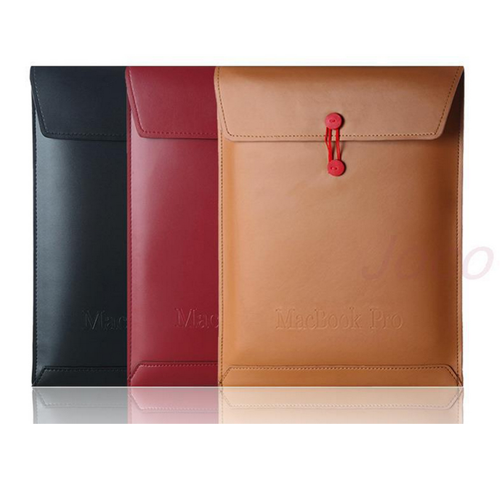 6d8be2c4c90 Laptop de couro pu envelope case bag bolsa para macbook air 11 13 Pro 13  notebook protetor Manga para mac book + rainbow adesivo
