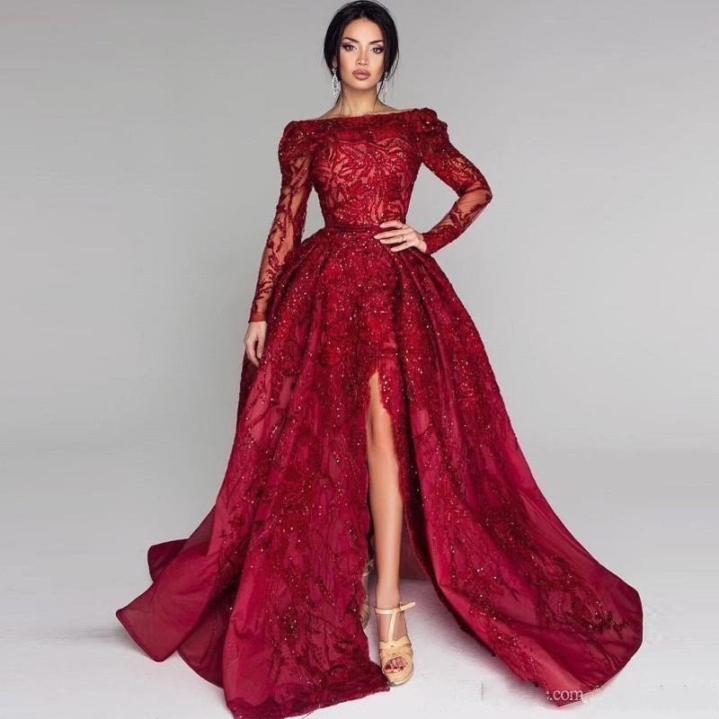Luxury Wine Red Lace Beaded Evening Gowns With Full Sleeves Sexy Backless High Side Split Prom